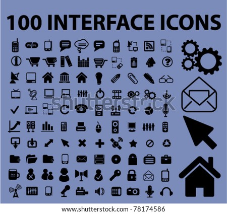 100 interface icons, signs, vector - stock vector