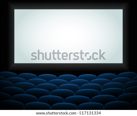 Interior of a cinema movie theatre, lecture hall with copyspace on the screen and rows of blue cinema or theater seats in front. Empty Cinema auditorium with white screen. Vector illustration. EPS 10