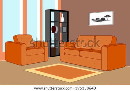 interior of the modern room - stock vector
