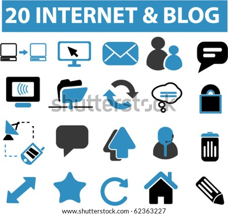 20 internet & blog signs. vector - stock vector