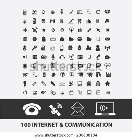 100 internet, connection, communication, network, mail, wireless, radio icons, signs set, vector - stock vector