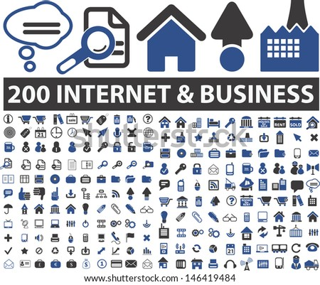 200 internet design, business icons set, vector