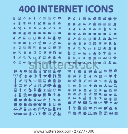 400 internet, office, business, media, communication, website icons, signs, illustrations set, vector - stock vector