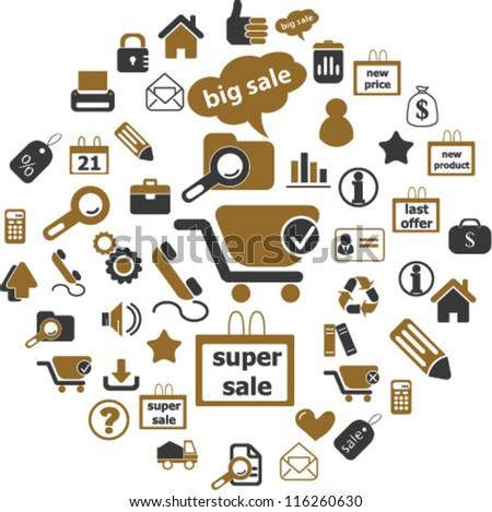 100 internet sales & shop icons set, vector - stock vector