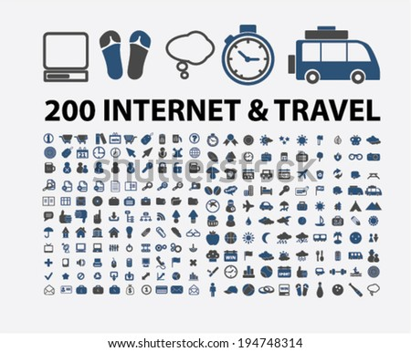 200 internet, travel, website, vacation icons set, vector - stock vector