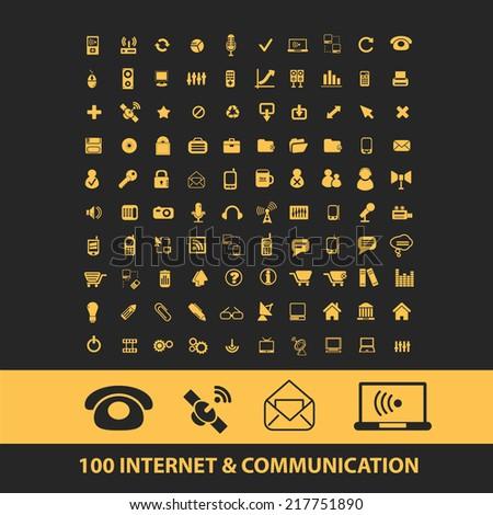 100 internet, website, communication icons, signs, illustrations, vectors, symbols set - stock vector