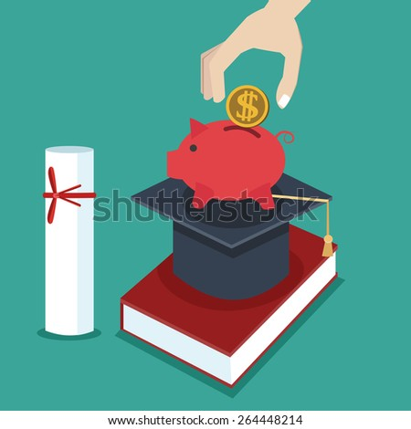invest in education / money / investment / Flat design / vector / EPS10 - stock vector