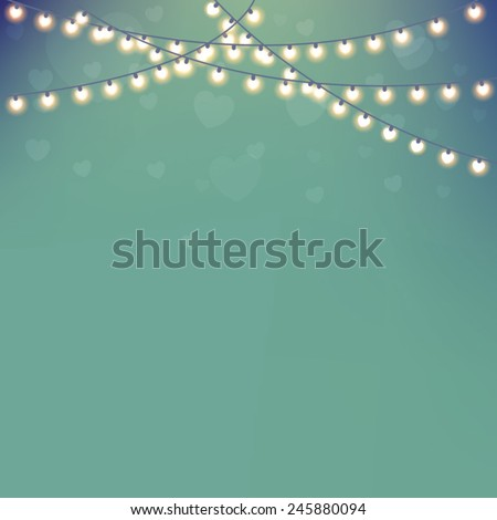 Invitation Card with Holiday Lights - stock vector