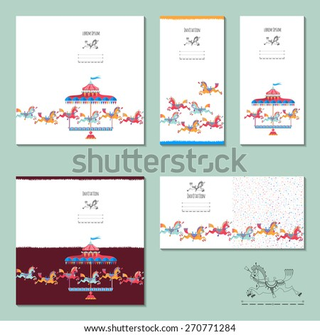 5 invitation cards with vintage carousel horse. Birthday, anniversary, children's party. Vector illustration - stock vector