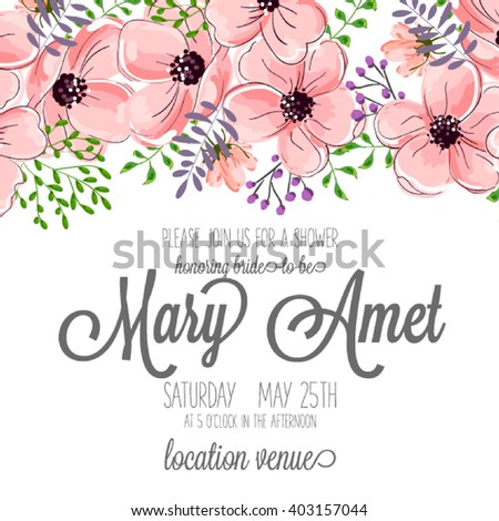 Invitation cards with watercolor elements. Wedding collection set. Flower Watercolor  - stock vector