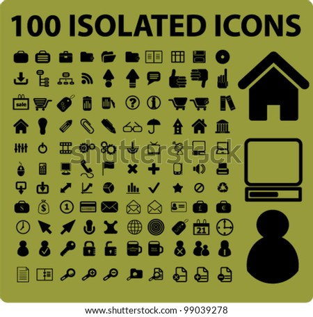100 isolated icons set, vector - stock vector