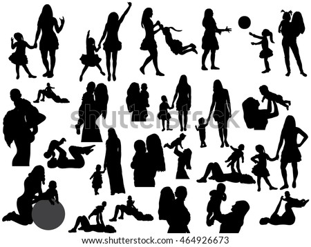 isolated, silhouette of mother and child, set, mom and baby
