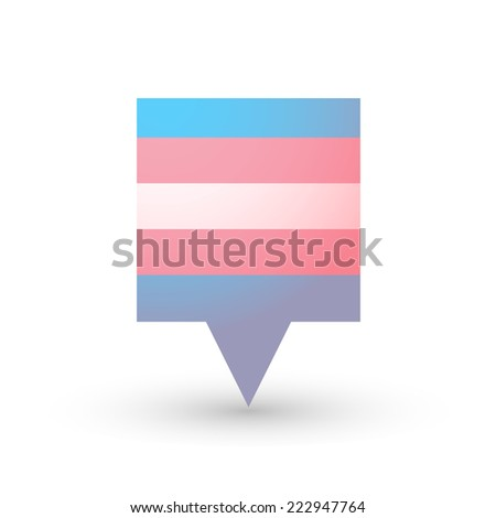 Isolated tooltip with a transgender pride flag - stock vector