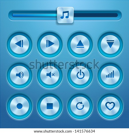 Isolated vector media player buttons and audio player. Blue design. Vector illustration.