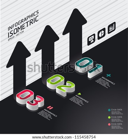isometric modern infographic graph   / can be used for infographics / graphic or advertise layout vector - stock vector