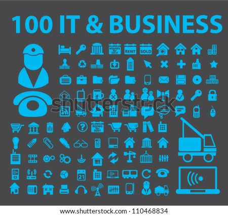 100 it business icons set, vector - stock vector