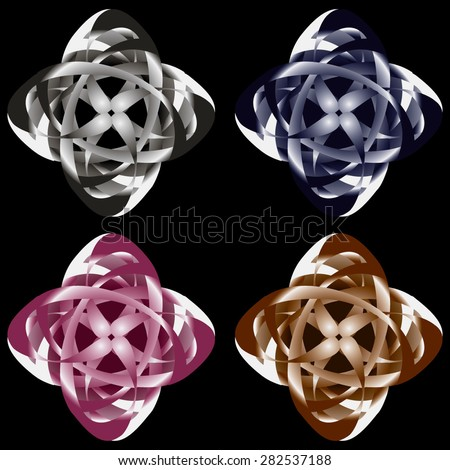 It is flowers. They each consist of three groups of elements. Each group has own gradient (which has two colors). If you change other color in each of  three groups, you change the flower color. - stock vector