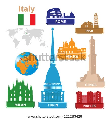 Italy. Silhouettes city. Vector set - stock vector