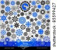 77 items - Christmas and New Year creative snowflakes and stars set,  horizontal blue, winter,  banner, vintage and retro ornaments, text, patterns for decoration and design - stock vector