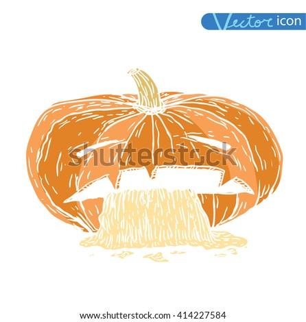 Jack O Lantern halloween pumpkin. vector illustration - stock vector