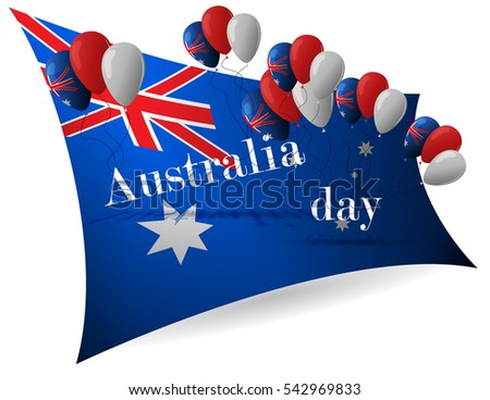26 january australia day greeting card stock vector 2018 542969833 australia day greeting card celebration background with flying balloons and waving flag m4hsunfo
