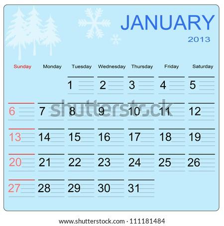 January 2013 calendar, vector illustration - stock vector