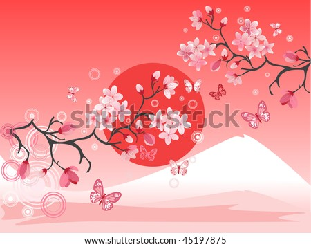 Japanese cherry tree to the background of the mountain
