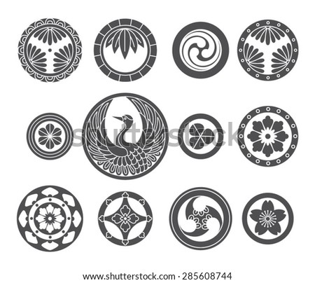 Japanese vector ornamental set. Traditional motives. - stock vector