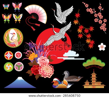 Japanese vector set. Traditional motives. - stock vector