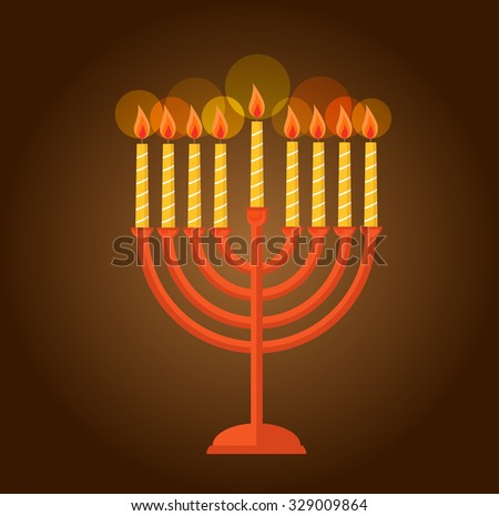jewish holiday Hanukkah cards with menorah (traditional candelabra) Burning candles over black background with glitter overlay - stock vector