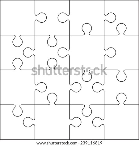16 Jigsaw Puzzle Blank Template Or Cutting Guidelines