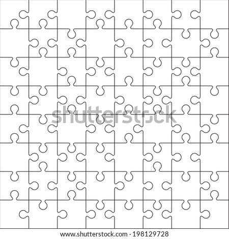Jigsaw Puzzle Blank Template Cutting Guidelines Vector – Blank Puzzle Template