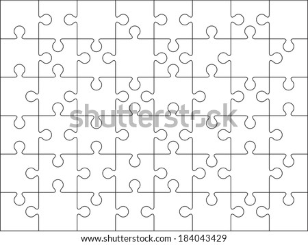48 jigsaw puzzle blank template cutting stock vector for Puzzle cut out template