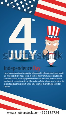 4 July american independence day design uncle sam - stock vector
