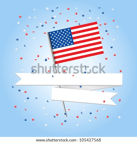 4 july celebration greeting card - stock vector