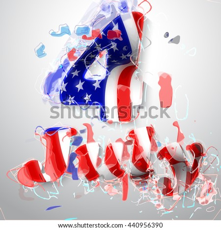 4 july in colors if American flag USA for Independence day. Vector illustration.