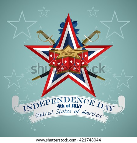 4 July Independence Day festive background with drum, vector illustration