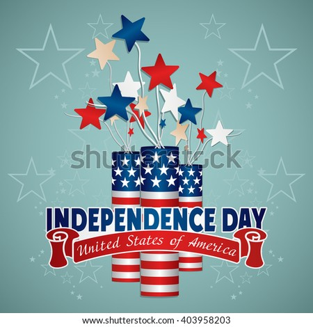 4 July Independence Day festive background with petards, vector illustration