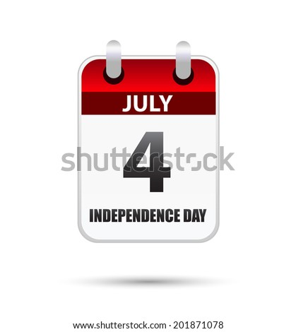 4 July Independence day on calender - stock vector