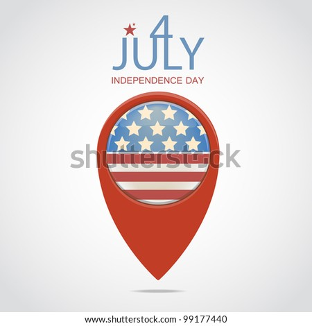 4 July Map Markers. - stock vector
