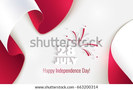 28 july. Peru Happy Independence Day greeting card. Waving peruvian flags isolated on white background. Patriotic Symbolic background  Vector illustration