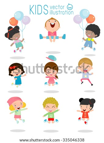 jumping kids, Multi-ethnic children jumping, Kids jumping with joy , happy jumping kids, happy cartoon child playing, Kids playing on white background , kids jamp,Vector illustration - stock vector