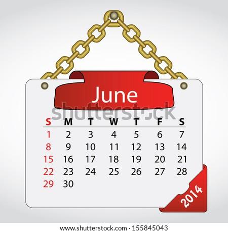 2014 June Calendar On Sign Golden Stock Vector 155845043 Shutterstock