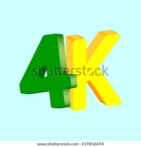 4k, green and yellow 3D logo, abstract concept, isolated icon design, ultra high definition television technology, vector illustration