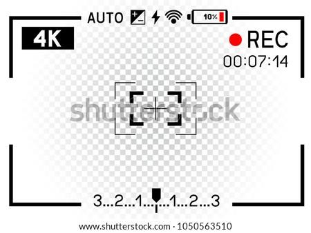 4 k resolution video camera rec viewfinder em vetor stock 1050563510 4k resolution video camera rec viewfinder aperture hole on transparent white background record frame template ccuart Images