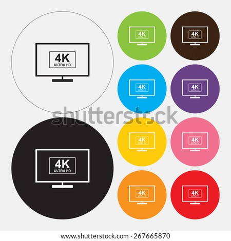 4K tv icon - Vector - stock vector