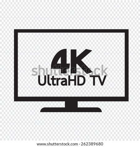 4K UltraHD TV icon - stock vector