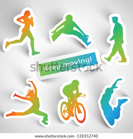 """Keep moving!"" sports stickers - stock vector"