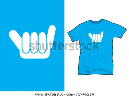 """""""keep surfing"""" sign on a blue shirt - stock vector"""