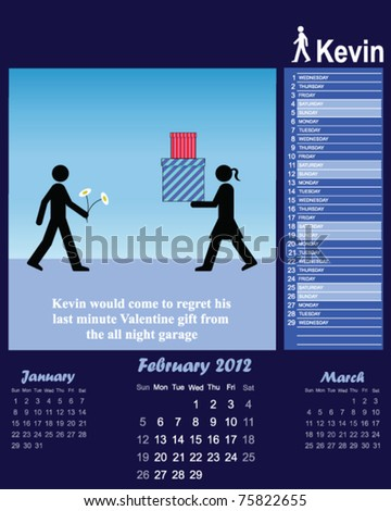 2012 Kevin series calendar for the month of February - stock vector